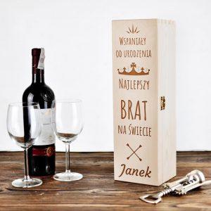 Personalizowane drewniane pudełko na wino - Najlepszy Brat Na Świecie