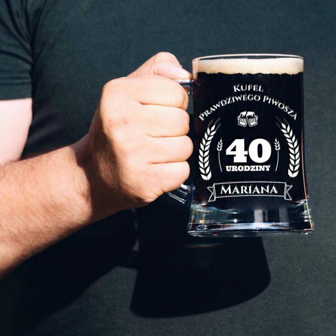 Grawerowany kufel na piwo - Kufel prawdziwego piwosza. 40 Urodziny.