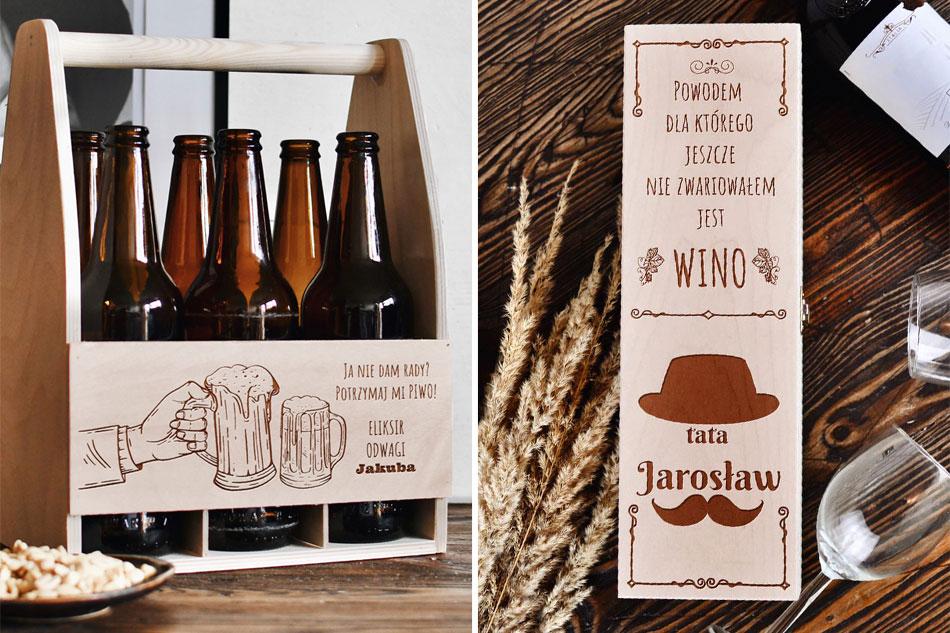 prezent dla taty, nosidło na piwo, personalizowane pudełko na alkohol