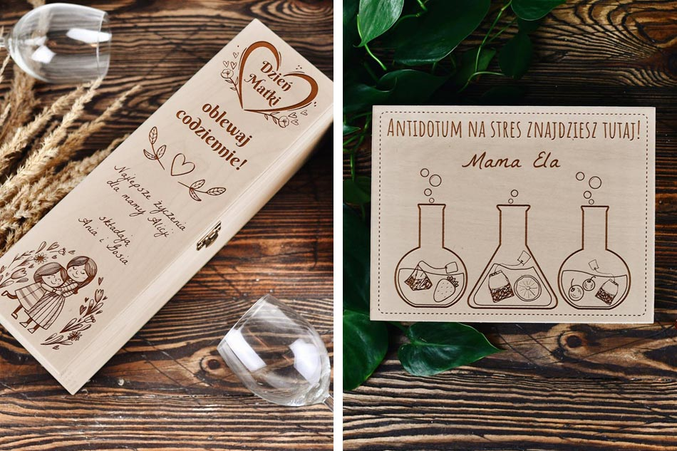 prezent dzień matki, pudełko na wino, personalizowane pudełko na herbatę