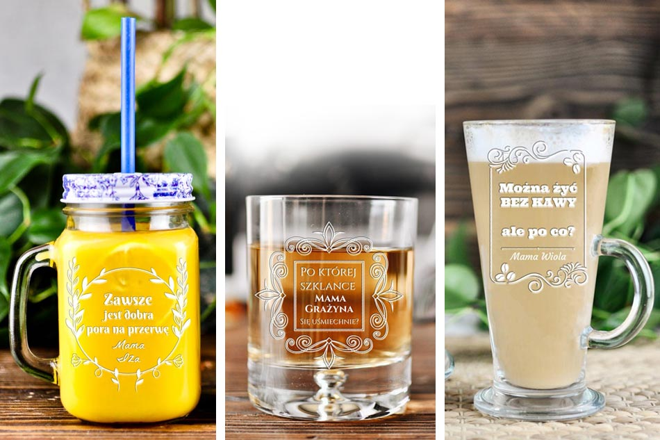 dzień mamy, szklanka do latte, szklanka do whisky, zestaw słoików z personalizacją
