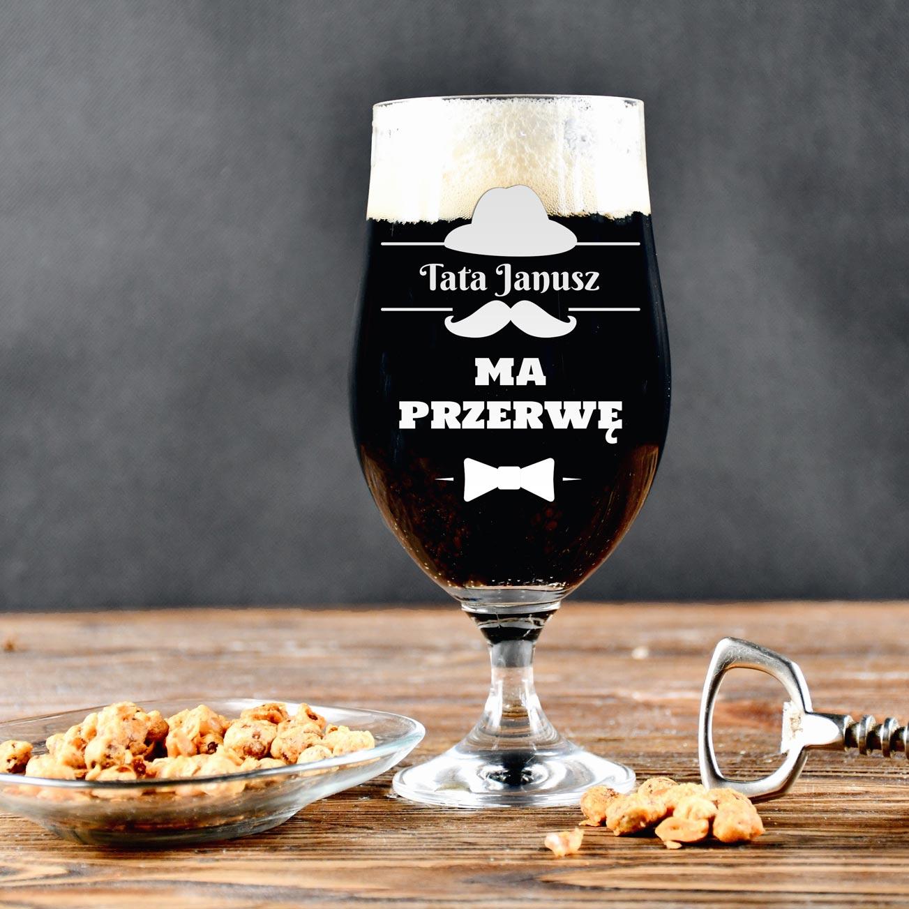 Grawerowana szklanka do piwa - Tata ma przerwę