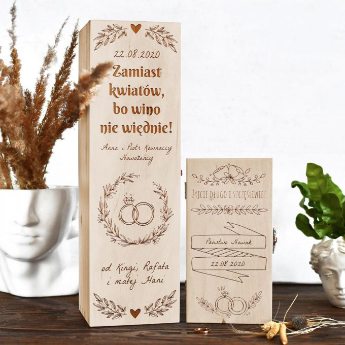 Prezent ślubny: pudełko na wino + pudełko na pieniądze